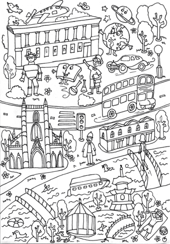 Science Museum And Battersea Park Coloring Page Free