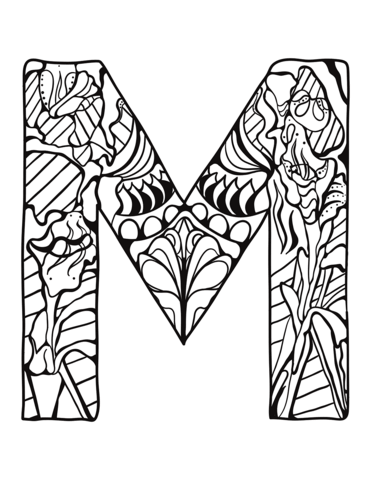 Letter M Zentangle Coloring Page Free Printable Coloring Pages