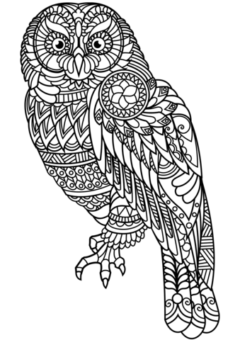 Owl Zentangle Coloring Page Free Printable Coloring Pages