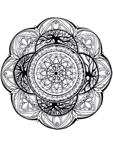 Manada With Tree Of Life Coloring Page Free Printable