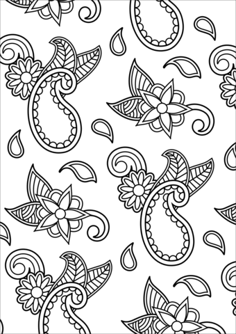 Paisley Pattern Coloring Page Free Printable Coloring Pages