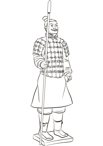 Terracotta Warrior Coloring Page Free Printable Coloring