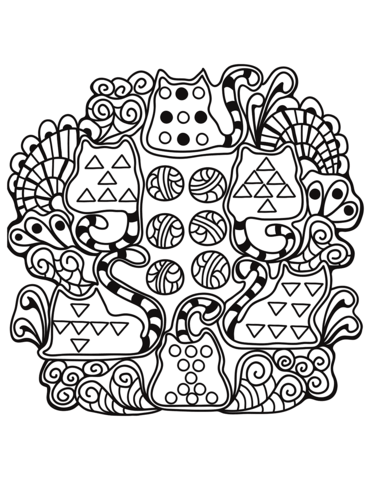 Abstract Cats Zentangle Coloring Page Free Printable