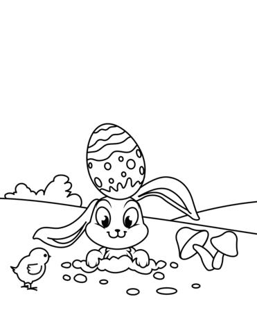 Disegno Di Coniglietto Di Pasqua Con Pulcino Da Colorare