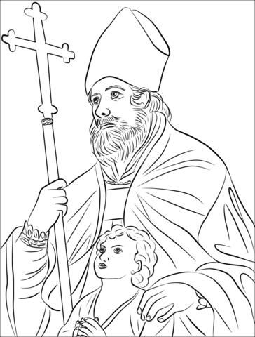 Saint Blaise And A Boy Praying Coloring Page Free
