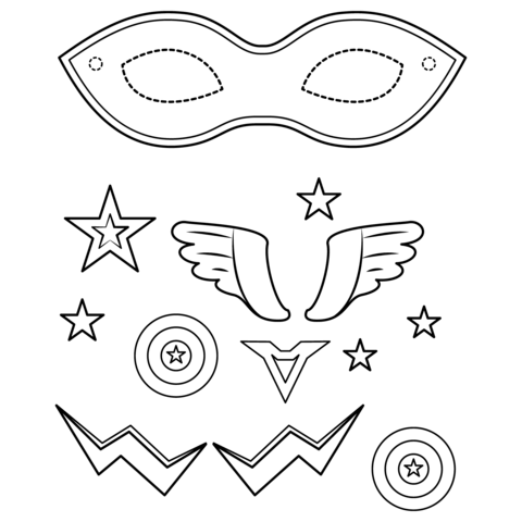 Superhero Mask Coloring Page Free Printable Coloring Pages