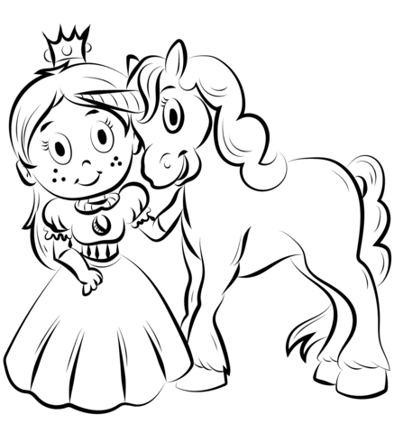 Princess With Unicorn Coloring Page Free Printable Coloring Pages