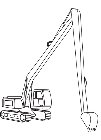 Long Reach Excavator Coloring Page Free Printable Coloring Pages