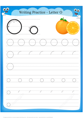 Letter O Is For Orange Handwriting Practice Worksheet