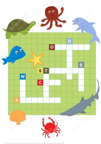 Ocean Animals Crossword Puzzle Free Printable Puzzle Games
