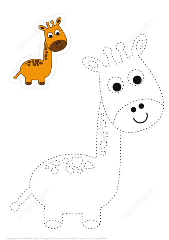 Trace And Color Cute Giraffe Free Printable Puzzle Games