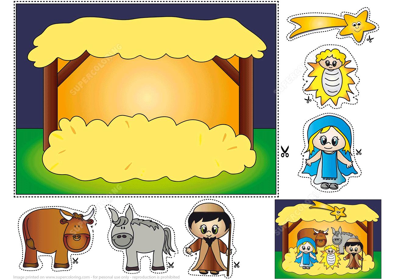 Nativity Scene Simple Paper Craft For Kids