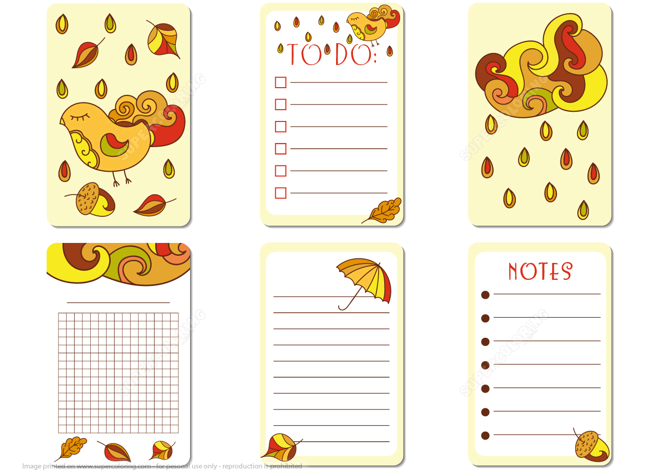 Printable Journal Cards And To Do Notes Autumn Theme