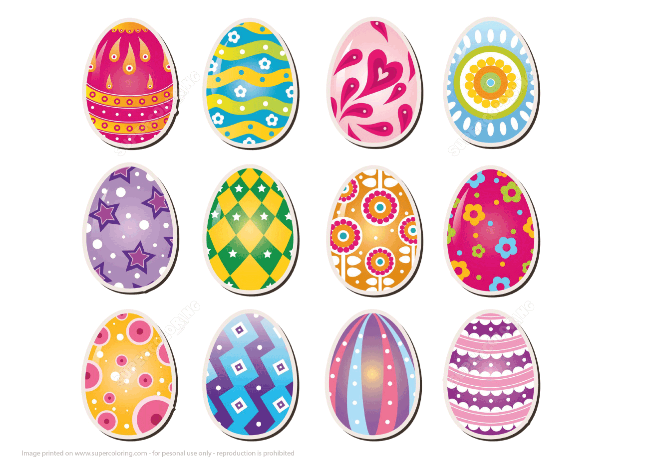Printable Stickers Of Easter Eggs