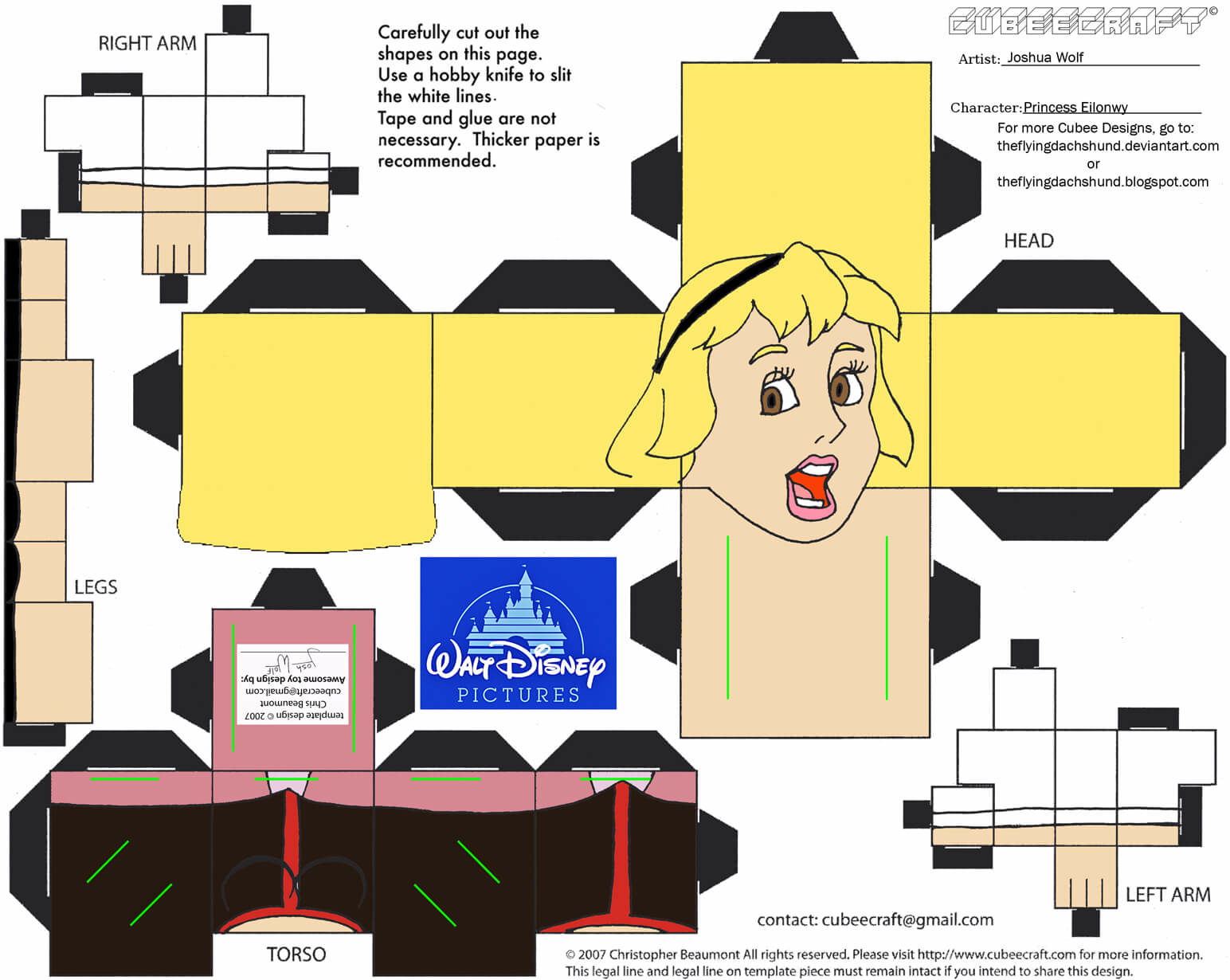 Princess Eilonwy Paper Toy Free Printable Papercraft Templates