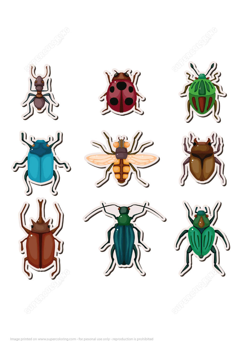 Insects Printable Stickers Free Printable Papercraft