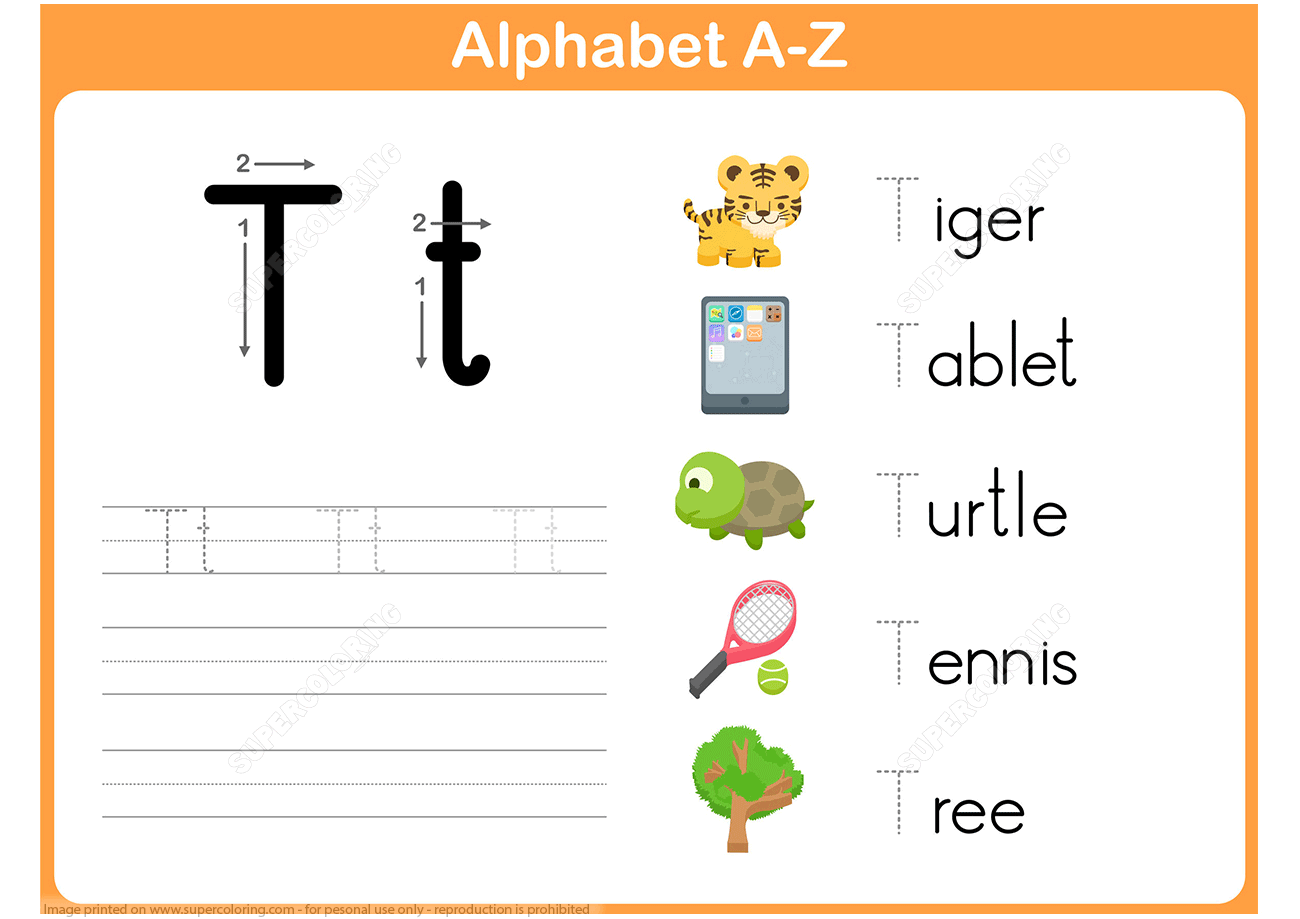 Letter T Tracing Worksheet