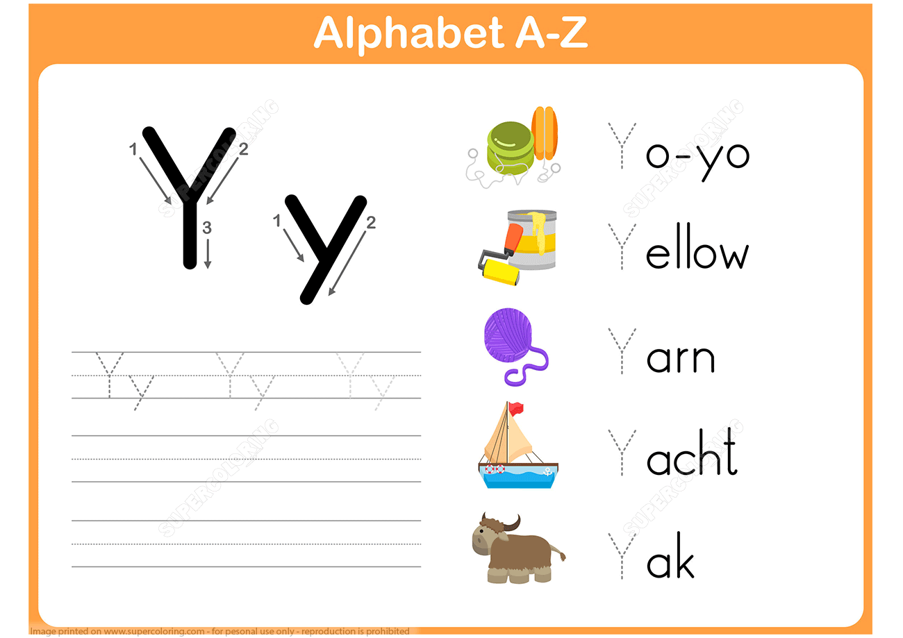 Letter Y Tracing Worksheet
