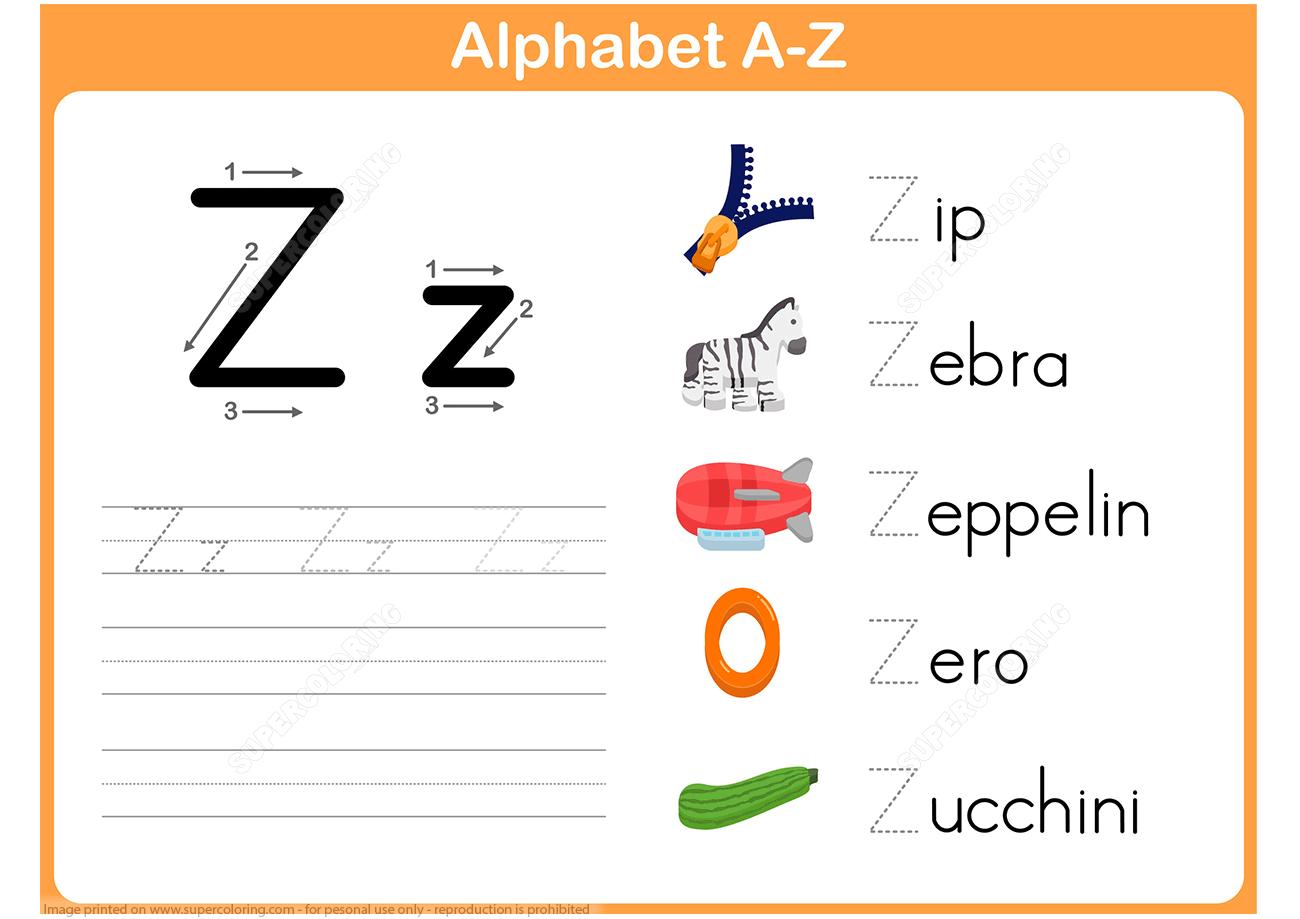 Letter Z Tracing Worksheet