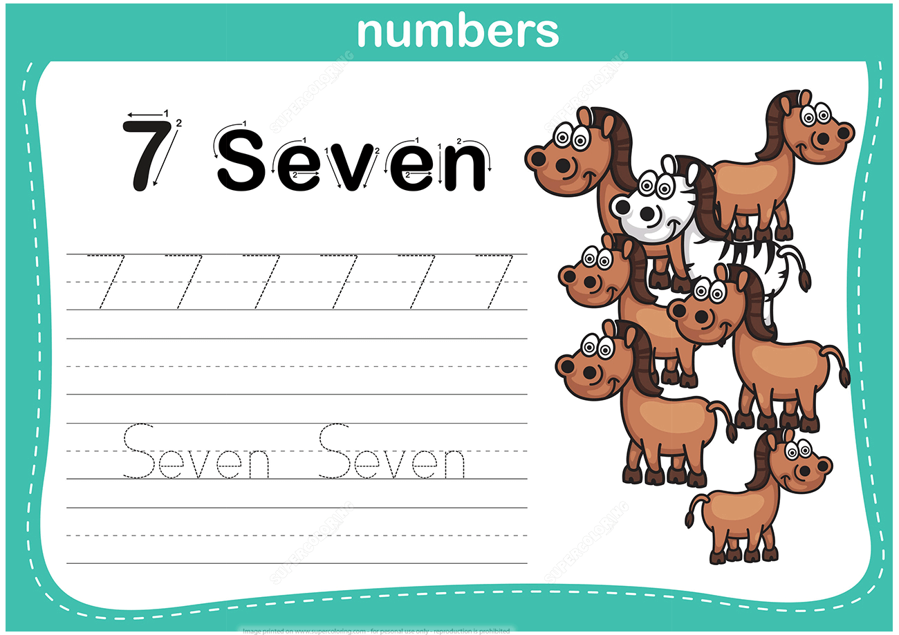 Number 7 Tracing Worksheet