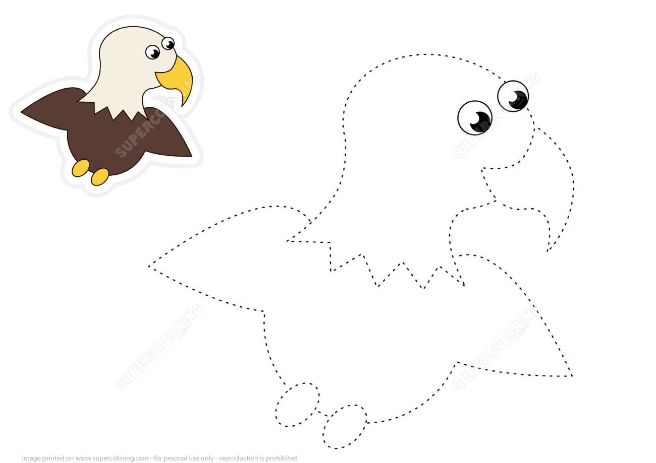 Trace Cartoon Eagle Dashed Lines