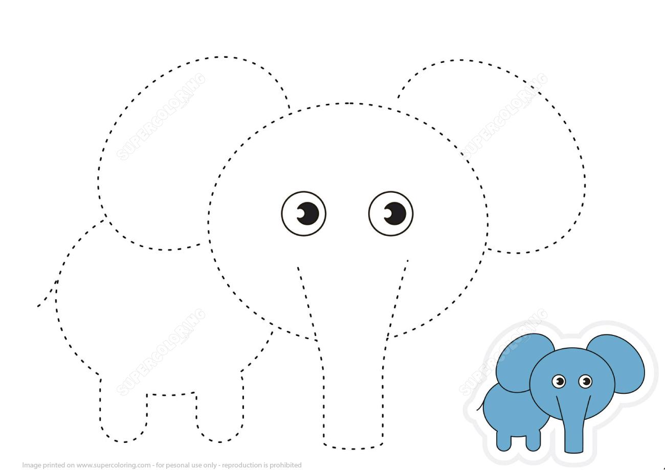Trace Lines And Draw Cartoon Elephant