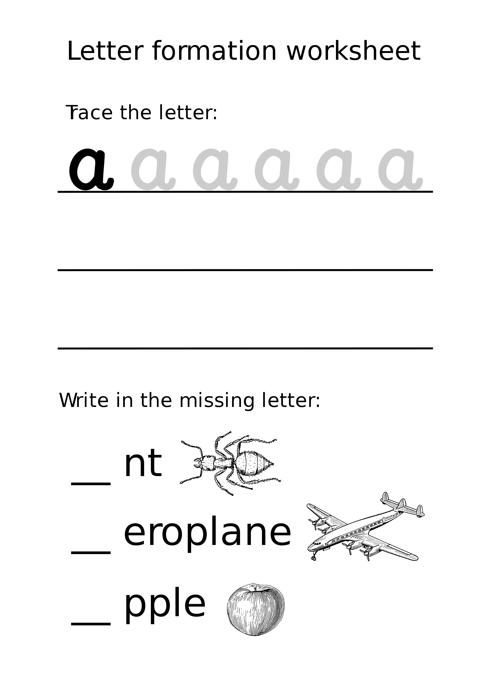 Letter A Lowercase Formation Worksheet