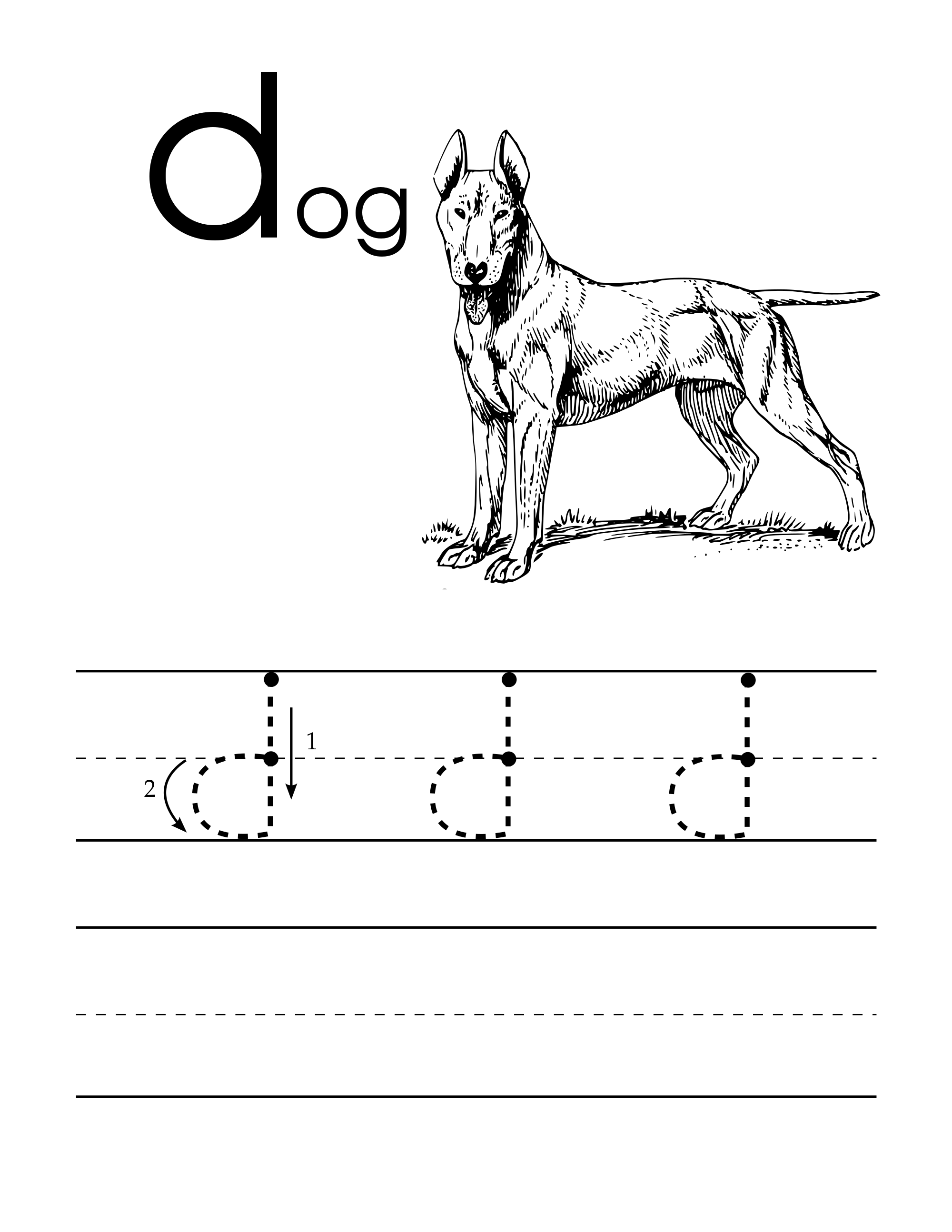 Lowercase D Handwriting Worksheet For Pre Schoolers With A Dog To Color