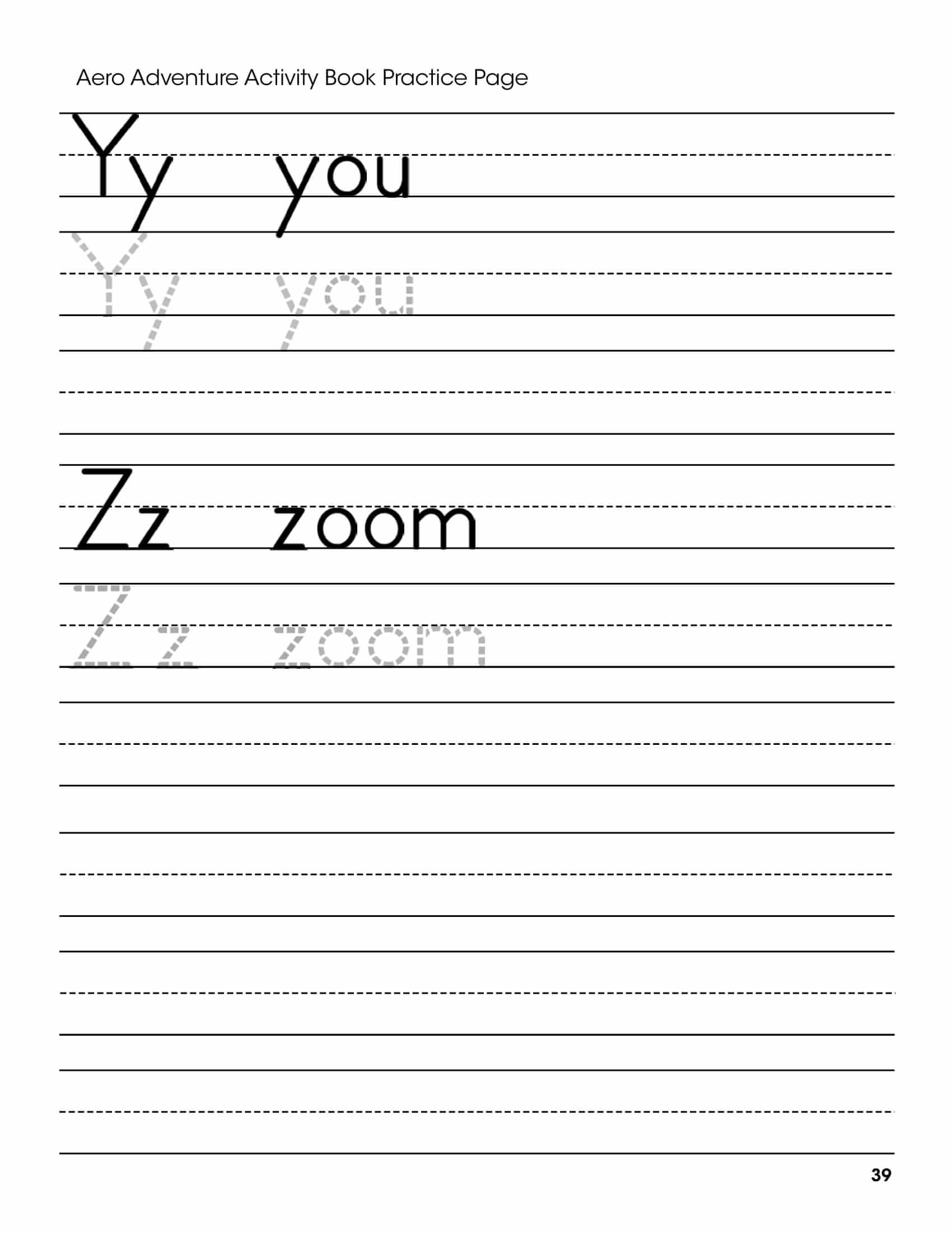 Y Z Letters Handwriting Worksheet