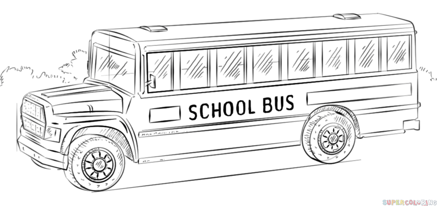 How To Draw A School Bus Step By Step Drawing Tutorials