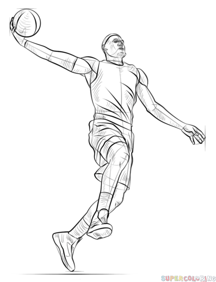 How To Draw A Basketball Player Dunking Step By Step Drawing Tutorials
