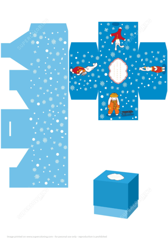 Christmas Gift Box Template With Rabbits Free Printable