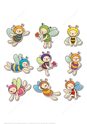 Cute Bee Printable Stickers Free Printable Papercraft