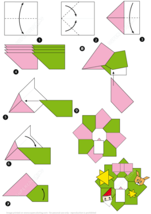 Origami Christmas Wreath Tutorial   Free Printable Papercraft Templates