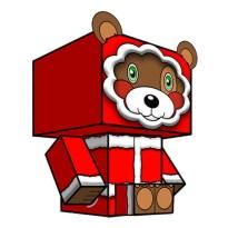 Papercraft imprimible y recortable de un osito navideño. Manualidades a Raudales.