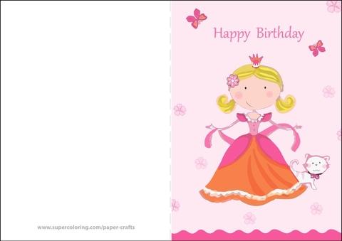 Happy Birthday Card With Princess Free Printable