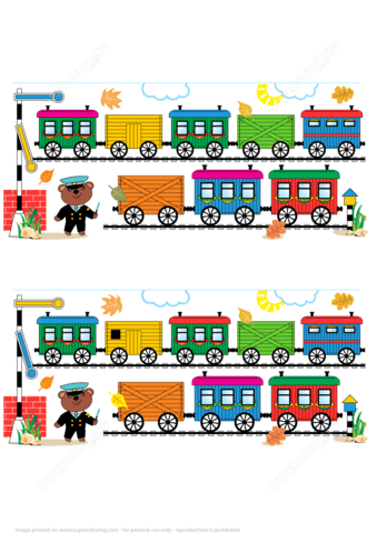 Find 10 Differences Toy Train Cars Railway Railroad