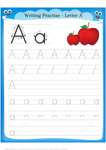 Letter A Is For Apple Handwriting Practice Worksheet
