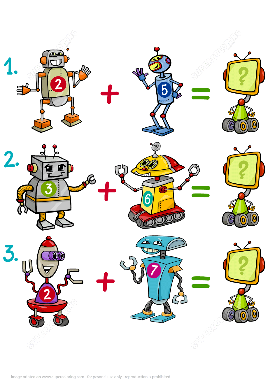 Addition Of Robots Math Puzzle Worksheet Free Printable