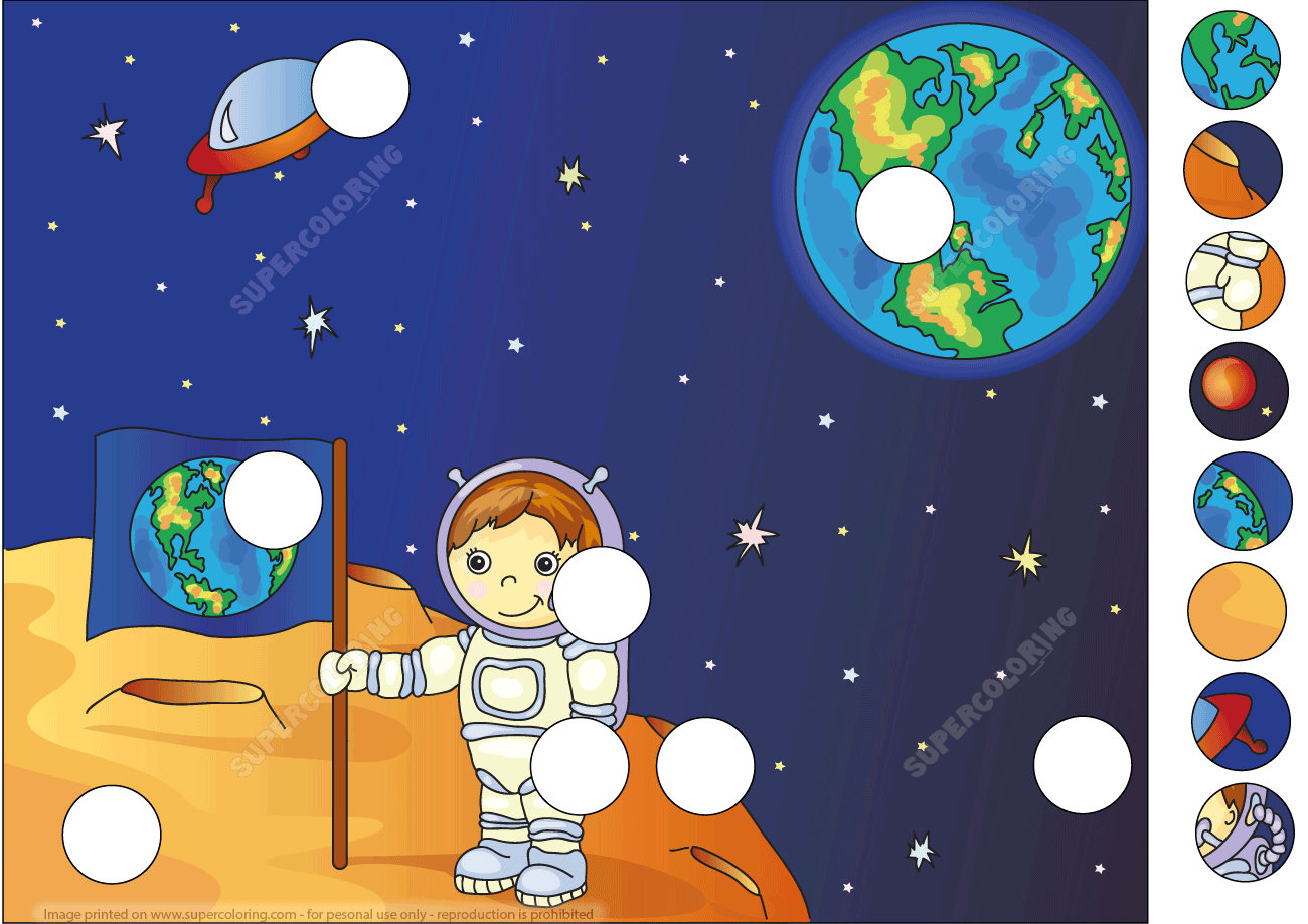 Astronaut Boy On The Moon Puzzle