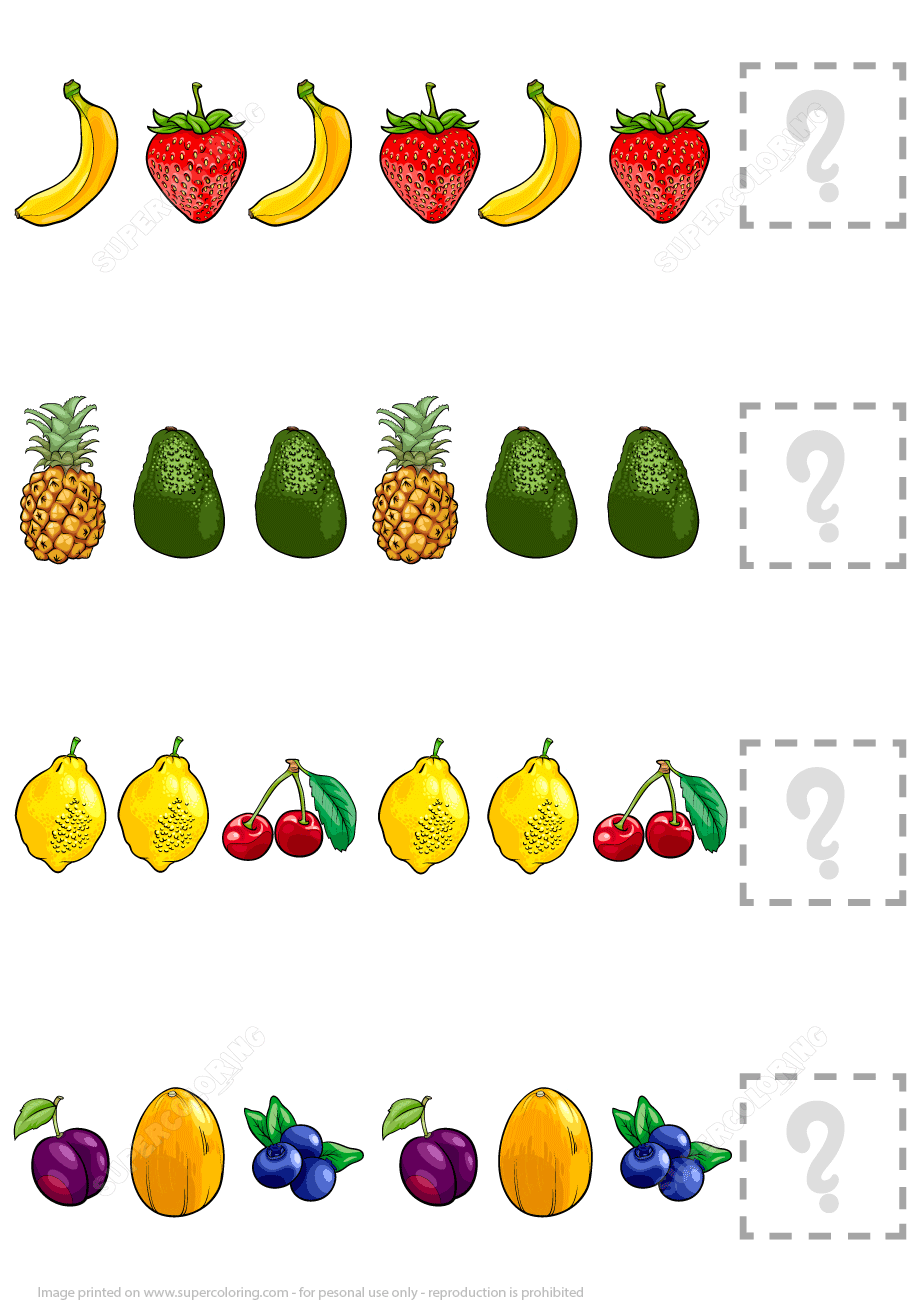 Complete The Pattern Worksheet With Fruits Free