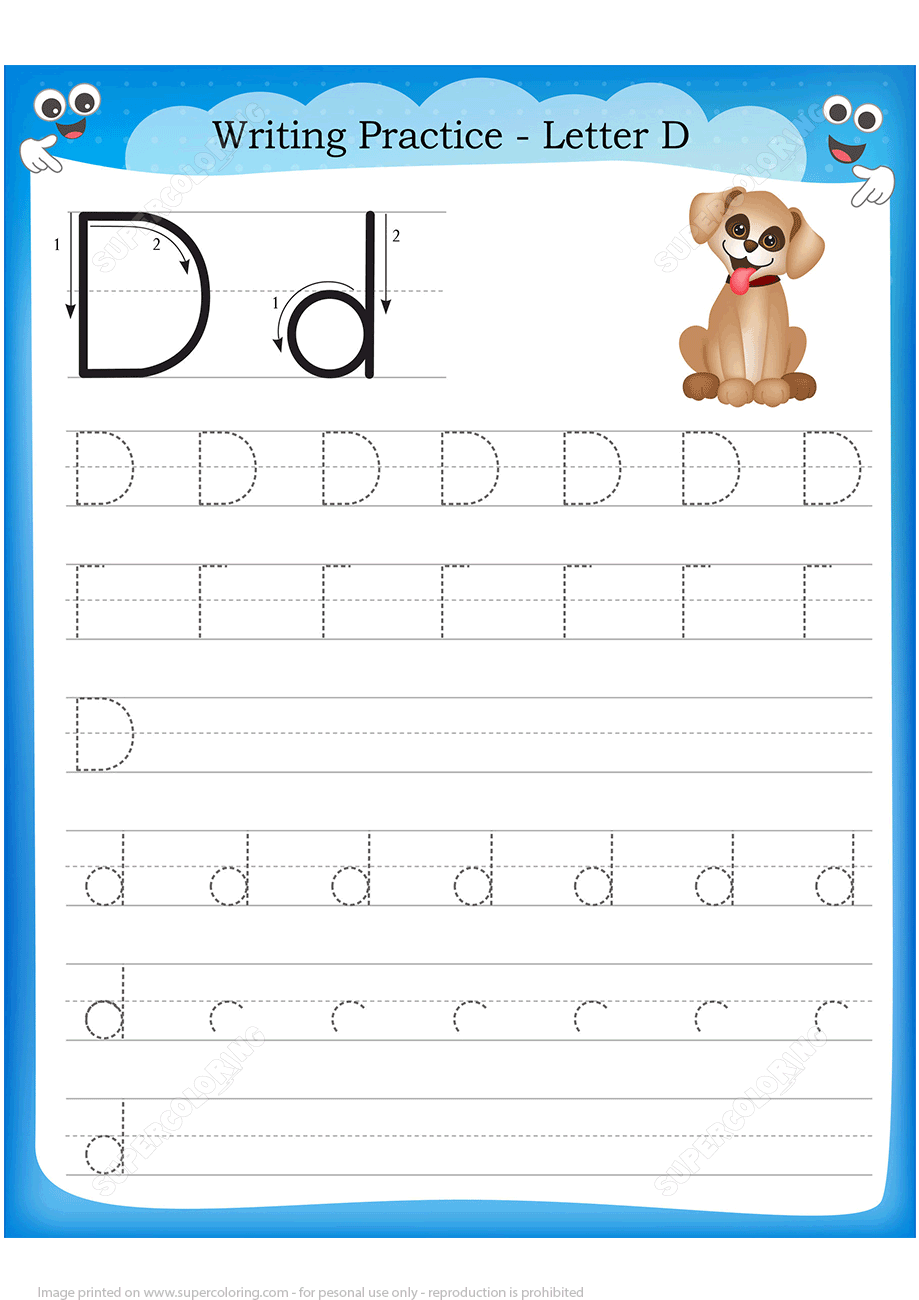 Letter D Is For Dog Handwriting Practice Worksheet Free