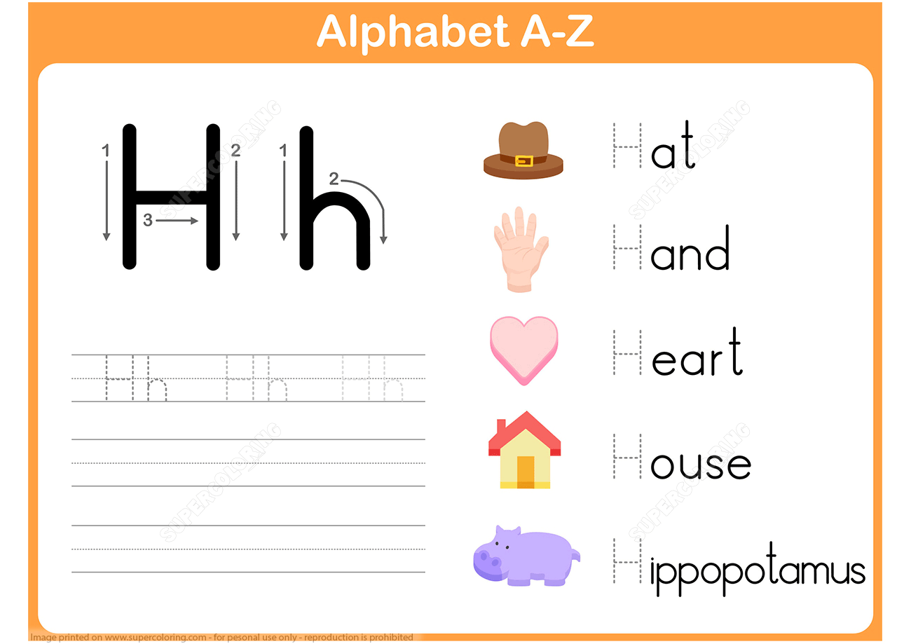 Letter H Tracing Worksheet