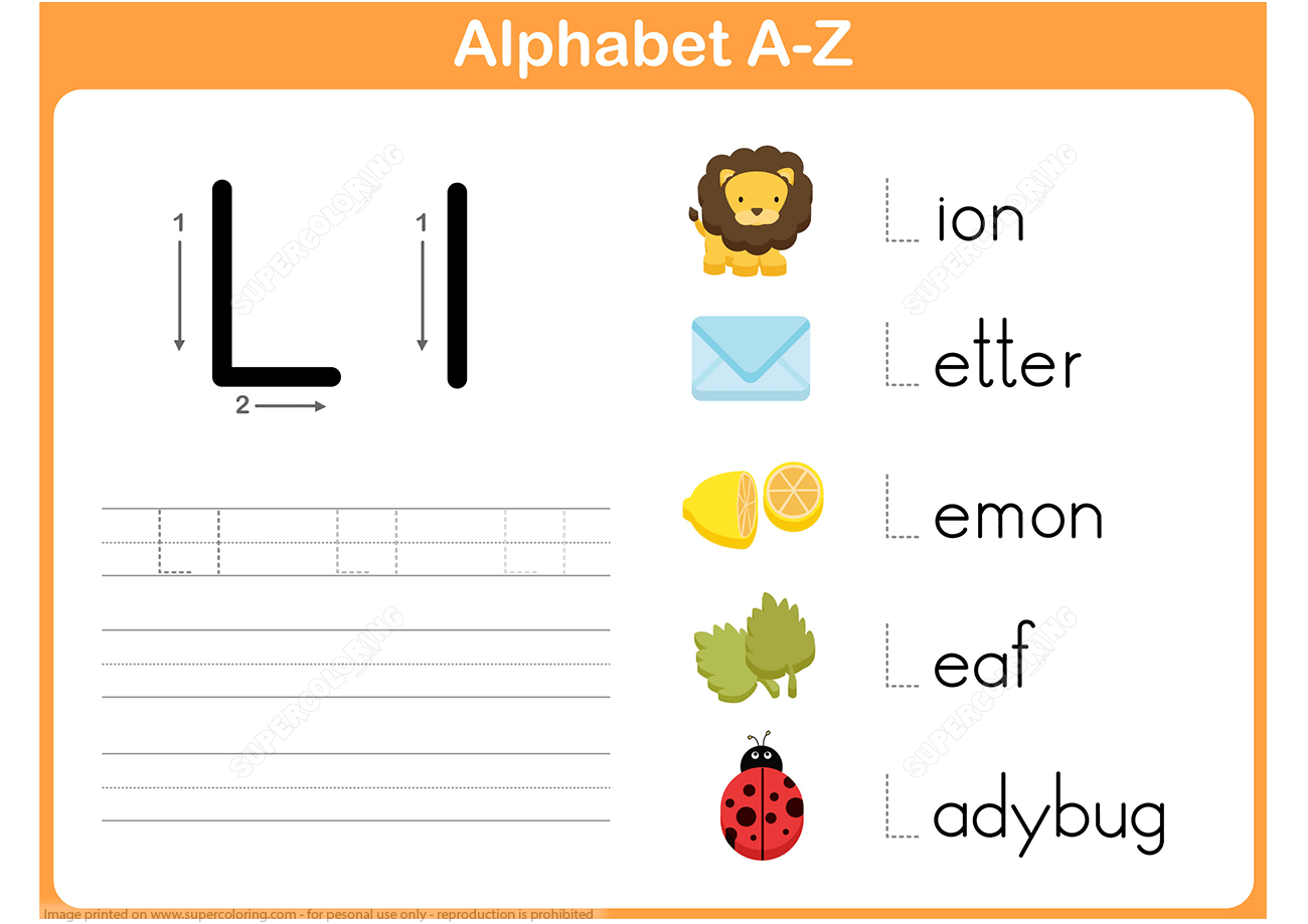 Letter L Tracing Worksheet