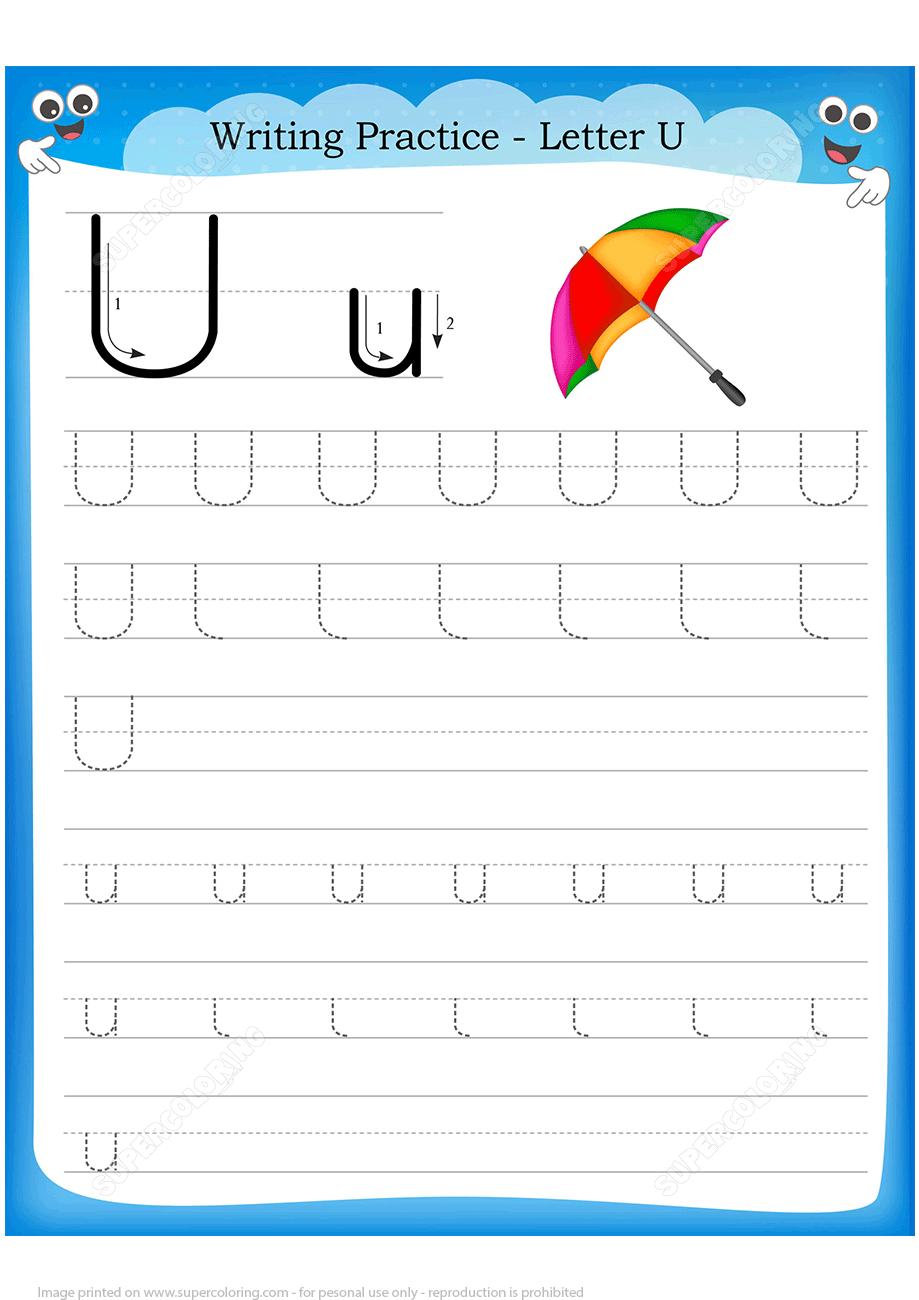 Letter U Is For Umbrella Handwriting Practice Worksheet