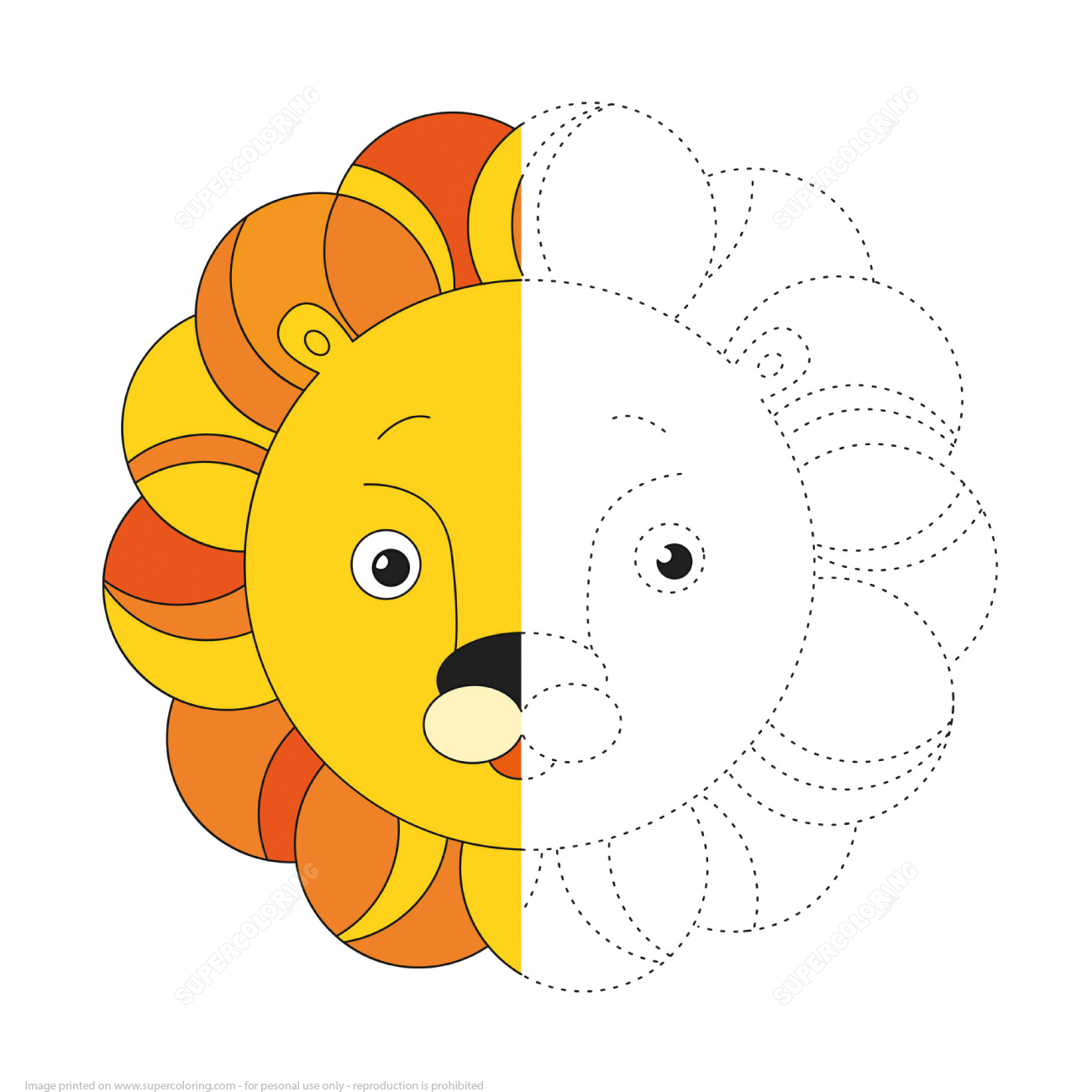 Trace And Color A Lion Toy
