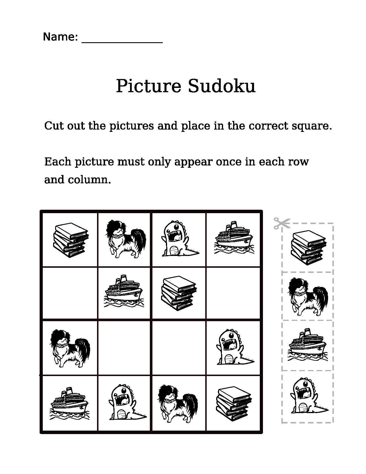 Picture Sudoku Worksheet