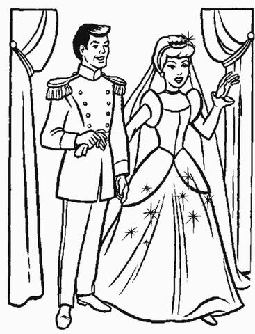 Cinderellas Wedding Party Coloring Page
