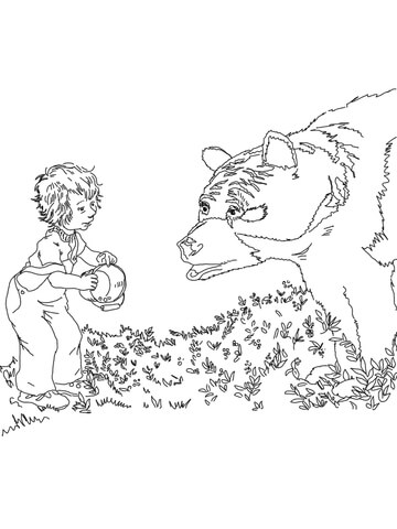 Sal Meets A Bear Coloring Page Super Coloring