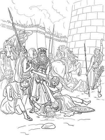 The Death Of Abimelech Coloring Page